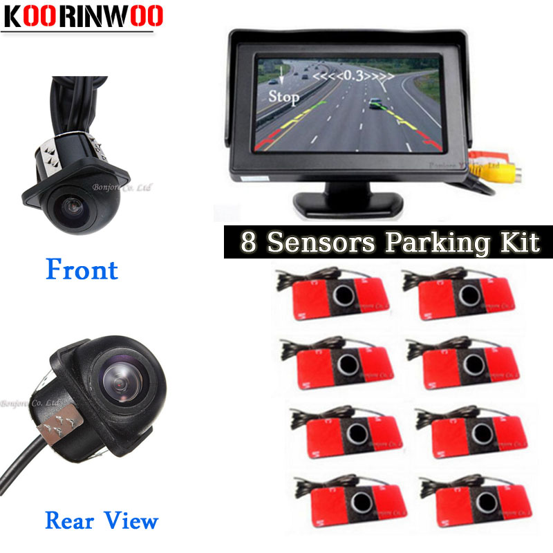 Koorinwoo Visual Dual Core CPU Car Video Parking Sensor 8 Radars Parktronic Car rear view camera Front camera car detector koorinwoo 4 in 1 car parking sensor 8