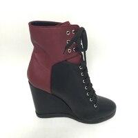 Real Fotos Negro Rojo Mujeres Botas Tobillo Alto zapatos de Tacón de Cuña Zapatos de Mujer Cuñas del Alto Talón del Dedo Del Pie puntiagudo Bota Corta Feminina