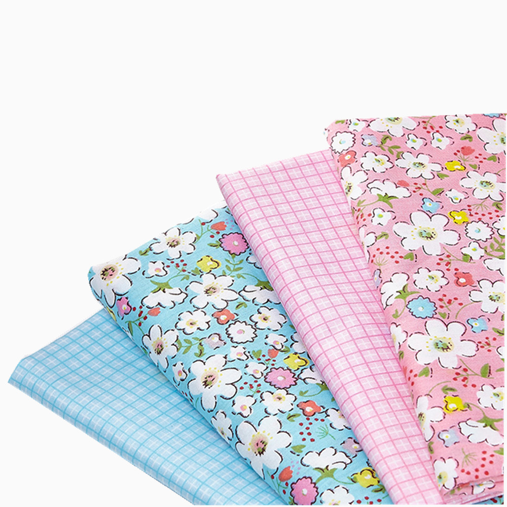 PINK  FLORAL  PATCHWORK  POLY COTTON DESIGN FABRIC WHITE 4 METRES BLUE