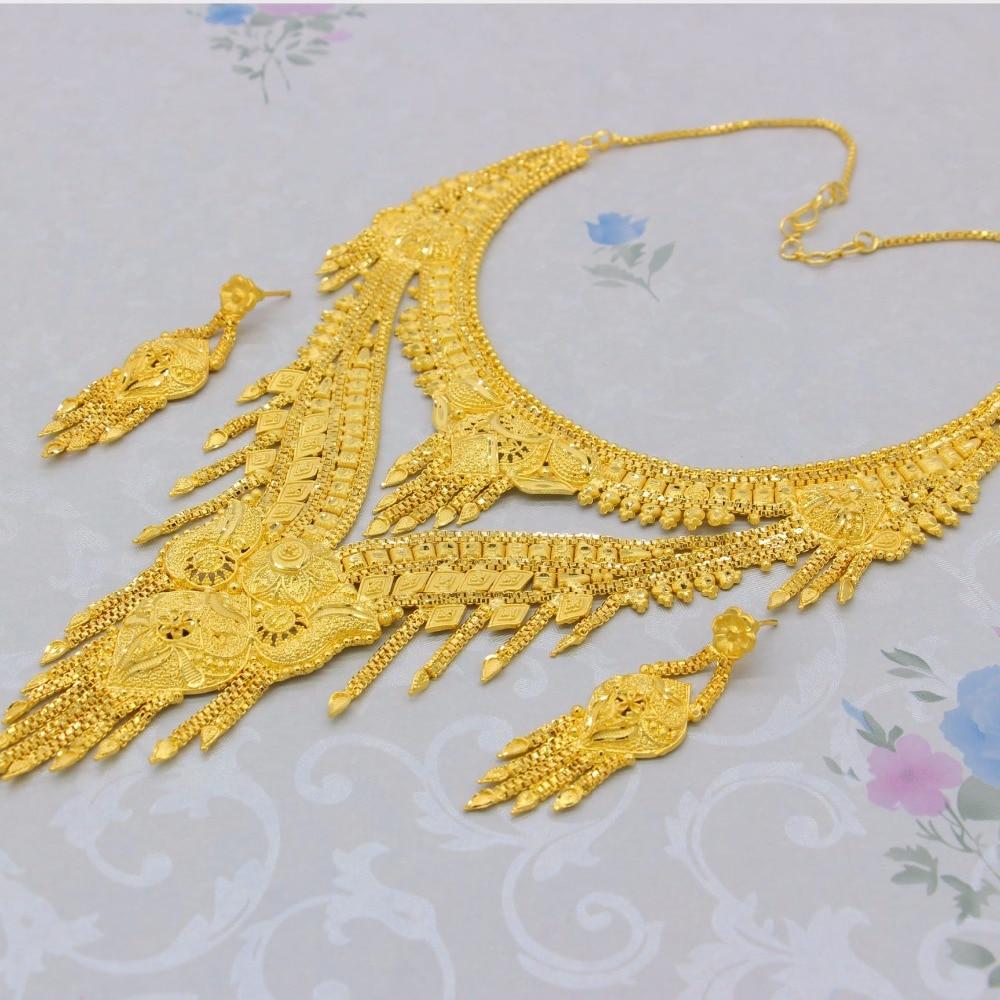 Adixyn nouveau 2018 de luxe arabe Dubai collier/boucles d'oreilles ensemble de bijoux couleur or et cuivre cadeaux africains mariée accessoires de mariage - 5
