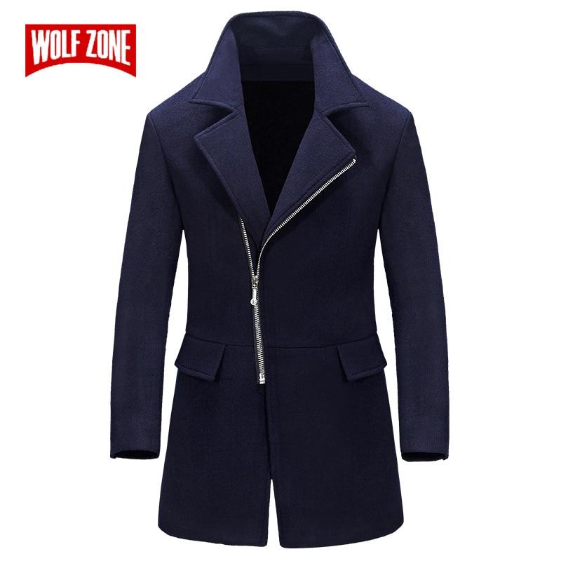 WOLF ZONE Business Casual Long Mens Overcoat Male Winter Wool Windbreaker Coat Men Brand Slim Fit Trench Coat Jacket Clothing