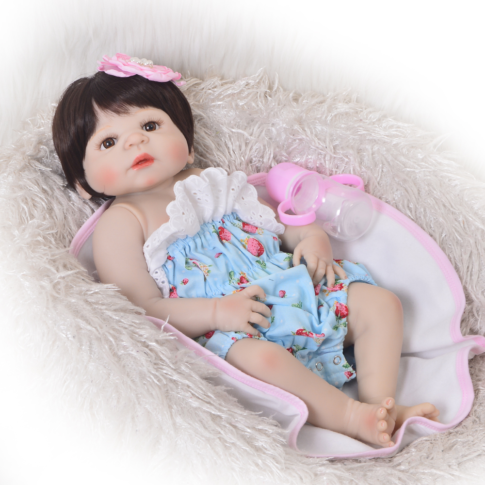 New Style 23'' 57 cm Full Silicone Body Alive Girl Baby Doll Realistic Wig Hair bebe Reborn Doll For Kid Christmas Gift Play Toy simulation baby girl dolls with short yellow hair newborn realistic alive silicone 60cm height gift for kid house education doll