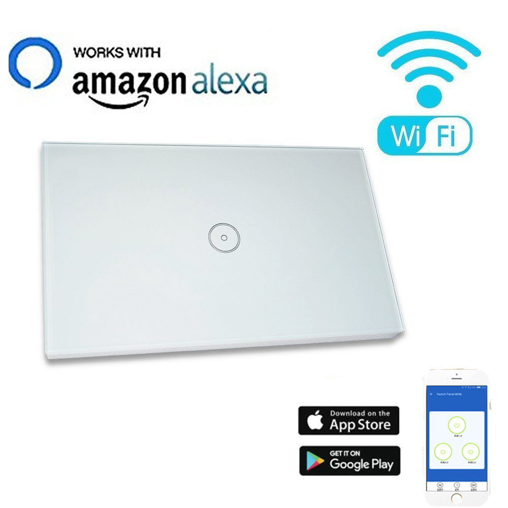 Work with Amazon Alexa and Google home   Wall light switch WiFi switch app control touch glass panel switch for smart home 0