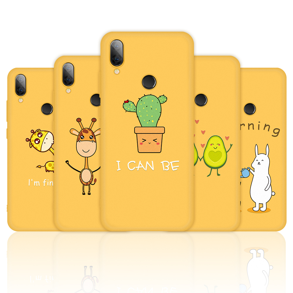 Painted Phone Case For <font><b>Xiaomi</b></font> <font><b>Redmi</b></font> Note 7 5 <font><b>6</b></font> Pro Case Cute Giraffe <font><b>Rabbit</b></font> Yellow TPU Soft Shell For Xiomi Note7 Pro Note 7Pro image