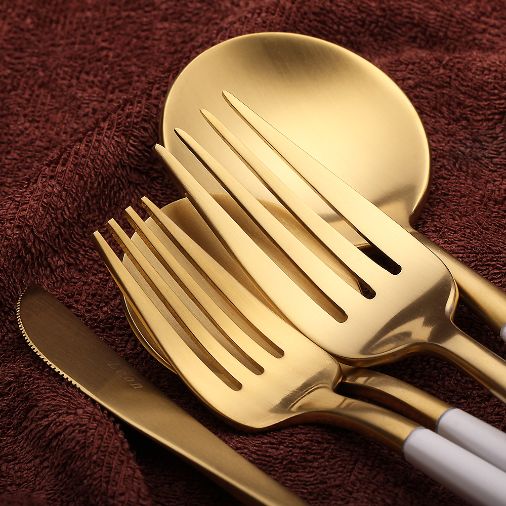 5Pcs/ Set White Gold silverware Set Golden Cutlery Set 18/10 ...