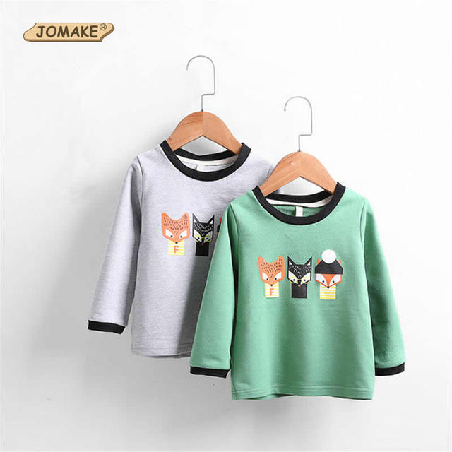 Cartoon Fox Printed Kids Long Sleeve T-Shirt For Girls And Boys Spring 2017 Fashion Brand Top Quality Children Costumes 2-7Years