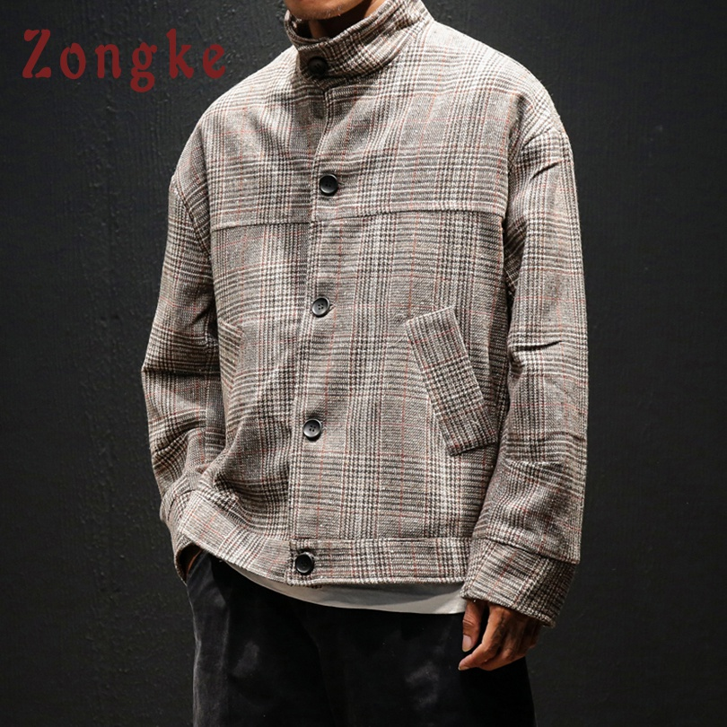 Zongke Woolen Plaid Men Jacket Coat Man Hip Hop Streetwear Men Jacket Coat Plaid Bomber Jacket Men Clothes 2019 Sping 5XL