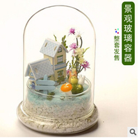 Creative Landscape Transparent Glass Cover DIY Microscopic Living Flowers Cover The Glass Cake Cover To Protect