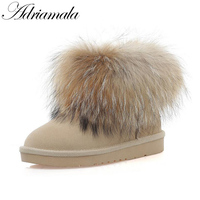 2017 Women Snow Boots With Round Toe Flat Shoes Winter Brand Designer Cow Suede Fox Fur