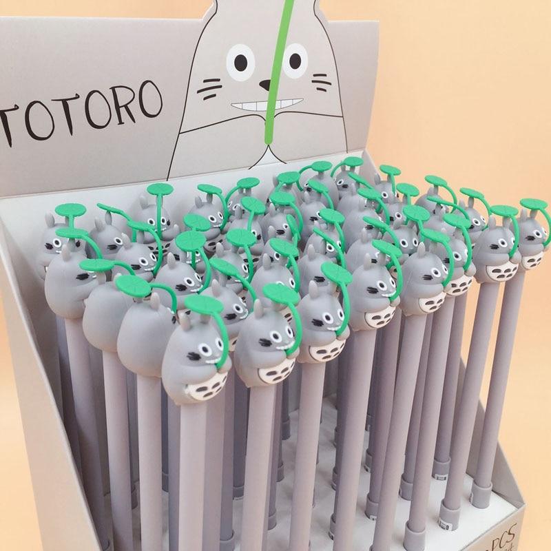 1X Kawaii Totoro Velvet Gel Pen Writing Signing Rollerball Pen Stationery School Office Supply Black Ink