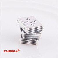 Fit Pandora Charms Bracelet Nghiên Cứu Sách Giáo Khoa Vít Đề Charm Hạt Authentic 925 Sterling Silver Bạc Trang Sức Bán Buôn LW256