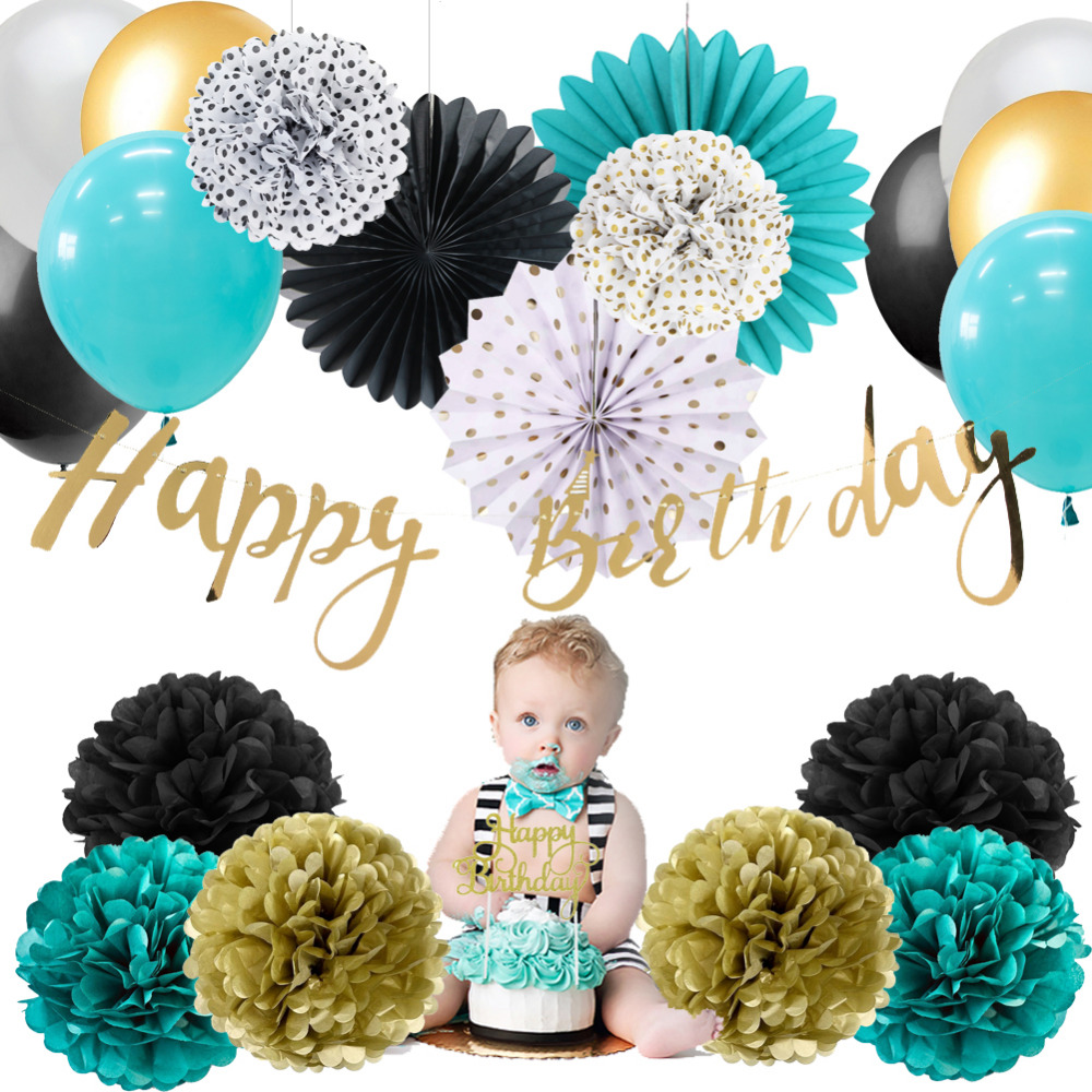 Black White Turquoise Wild One HAPPY BIRTHDAY Banner Birthday Banner Birthday Party Decor Photo Prop
