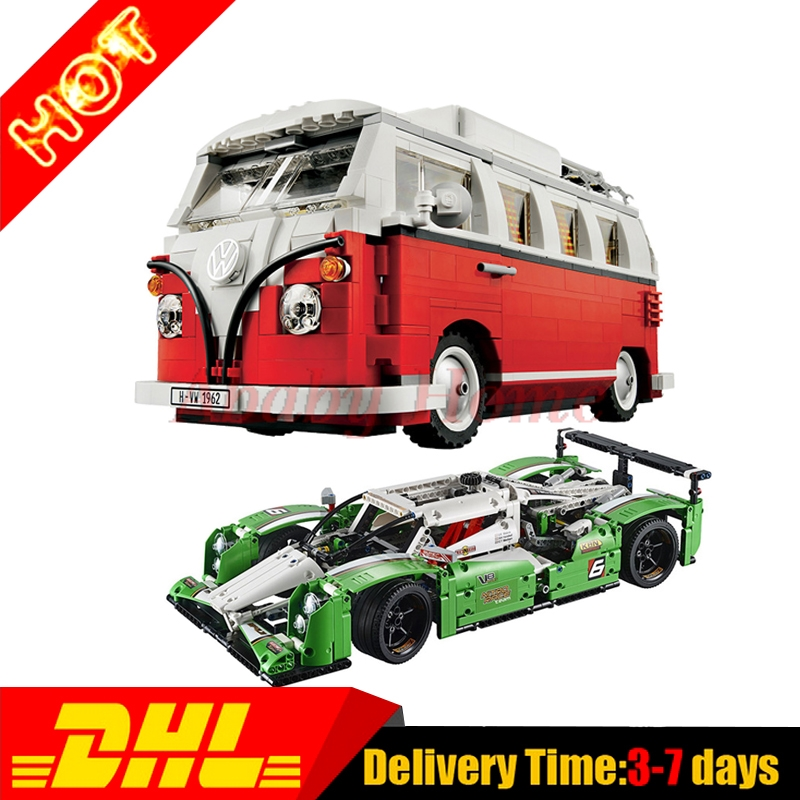 Lepin 20003 24 hours Race Car + 21001 T1 Camper Van Technic Series Building Blocks Bricks Toy Gifts Clone 42039 10220