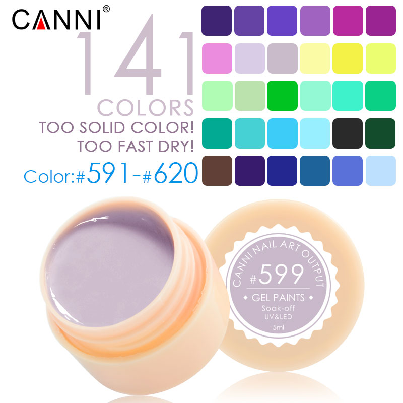 #50618 141 Color CANNI Professional Nail Art Design 5ml UV LED Soak Off Paint Gel Ink UV Gel For Nails