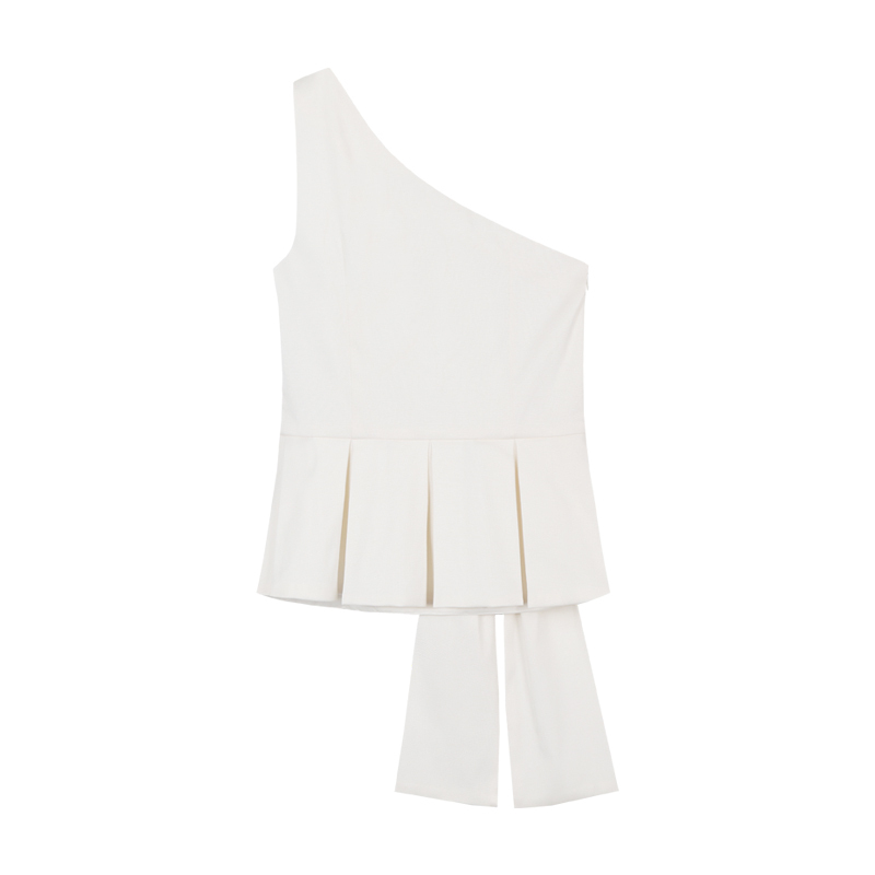 202ee4ad740 yigelila 7171 fashion women tops solid white blouse bow sleeveless one  shoulder tank tops free shipping-in Tank Tops from Women's Clothing on  Aliexpress.com ...
