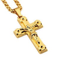 Cross Crucifix Jesus Piece Pendant Necklace Stainless Steel Gold Plated Men 75cm Chain Christian Choker Jewelry