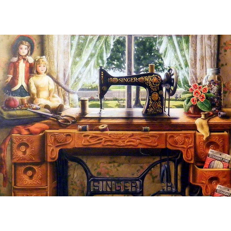 "Full Square/Round Drill 5D DIY Diamond Painting ""Sewing machine"" 3D Embroidery Cross Stitch Mosaic Home Decor gift"