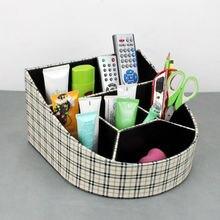 Стильный наклонные 5-слот дерево кожа настольные косметика дело коробка для хранения организатор для макияжа 262A