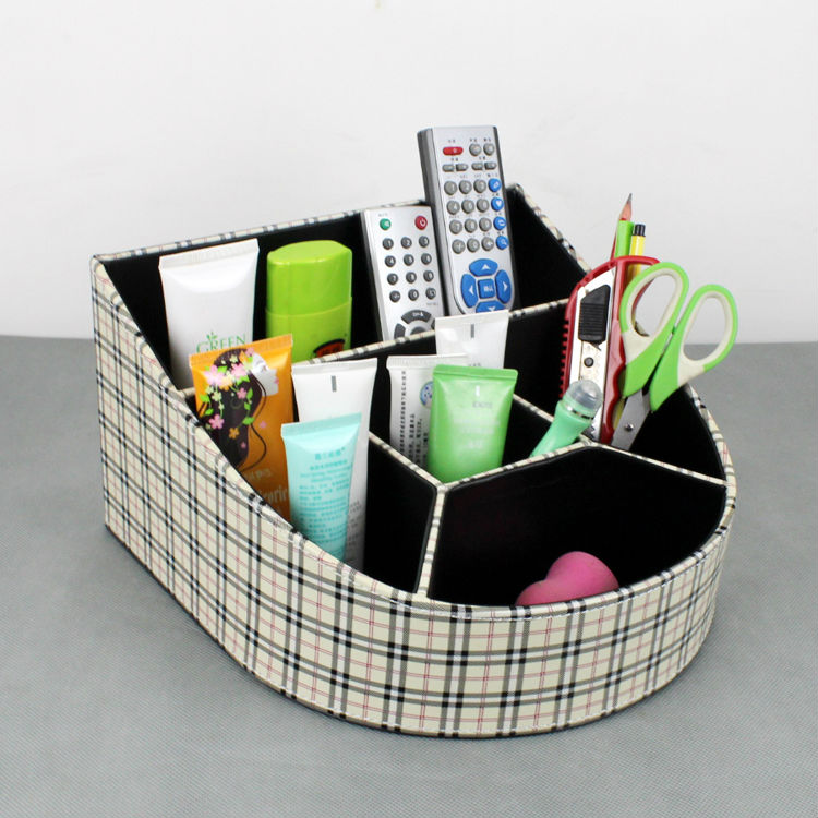 stylish 5-slot slanted wood leather desktop cosmetics case storage box organizer for makeup 262A
