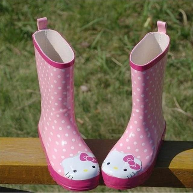 Eur 24-35Cute мультфильм дети ботинки дождя киски девочка обувь принцесса дети дождь сапоги бесплатная доставка 150