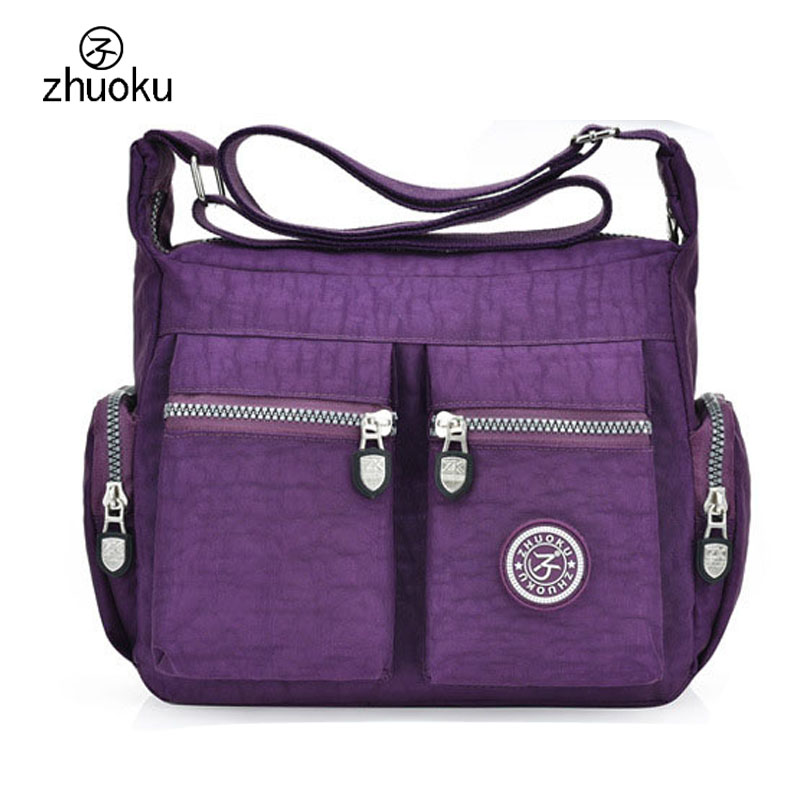 ZHUOKU 2017 Women Nylon Bags Women Handbags Large Capacity Nylon Messenger Bags Casual Strap Shoulder Bag Bolsa feminina ZK755 hot shoulder bag casual bag nylon waterproof women bolsa messenger bag travel bags kiple style high capacity handbags
