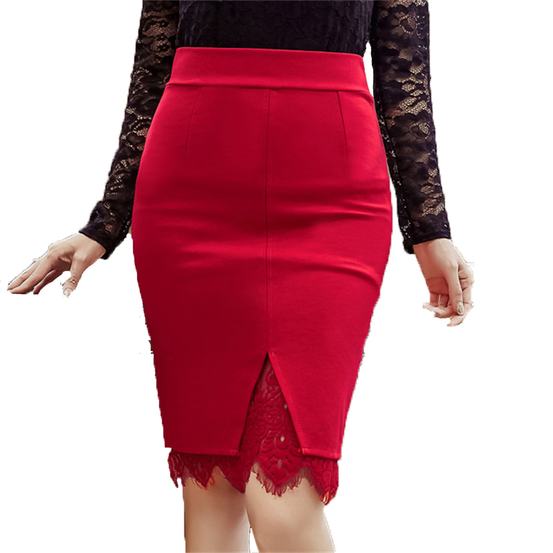 split skirts 2018 summer new red lace sexy office lady elegant pencil skirts top quality plus size clothing image