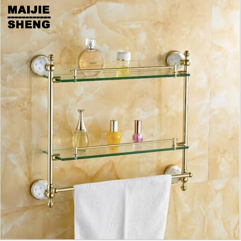 Tempered Glass,double Glass Shelf bathroom shelf Bathroom Accessories Solid Brass Golden Finish With купить