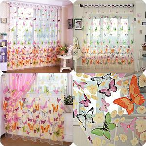 Image 2 - 다채로운 나비 인쇄 된 tulle 창 화면 깎아 지른 voile 문 커튼 드레이프 패널 또는 스카프 모듬 된 커튼