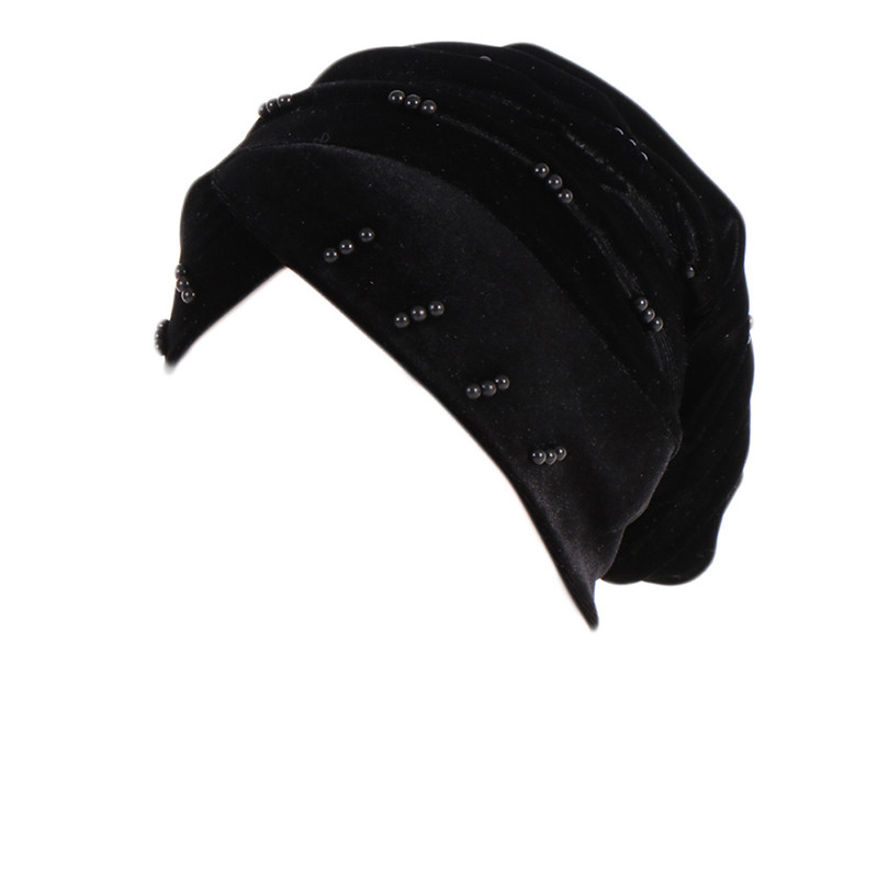 New Fashion Women Autumn Winter Muslim Beading Pearl Ruffle Hat Beanie Scarf Turban Head Wrap Cap  #4F09 (10)