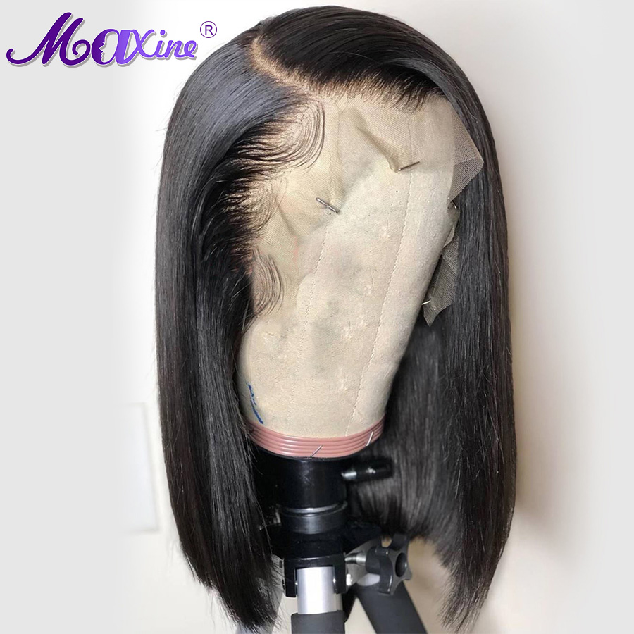 Maxine Short Bob Wig Peruvian Straight Lace Front Human Hair Wigs With Pre Plucked With Baby Hair Remy Lace Wig Full End(China)