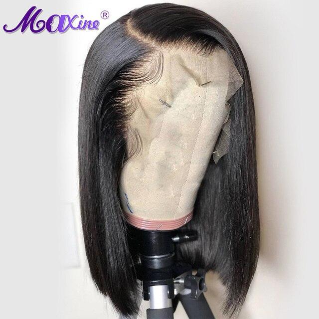 Maxine corto Bob Peluca de encaje recto peruano frente pelucas de cabello humano con Pre desplumado con pelo de bebé Remy Peluca de encaje la final