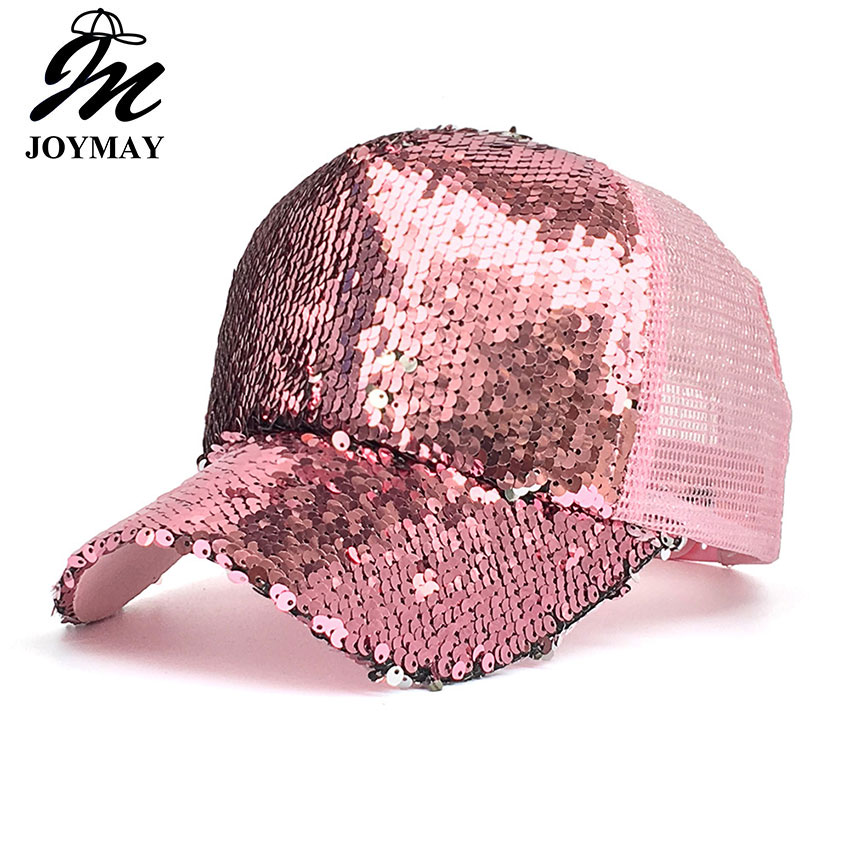 joymay 2018 spring summer new sun hat fashion style woman favorite bling bling glitter mesh baseball cap casual leisure hat b529