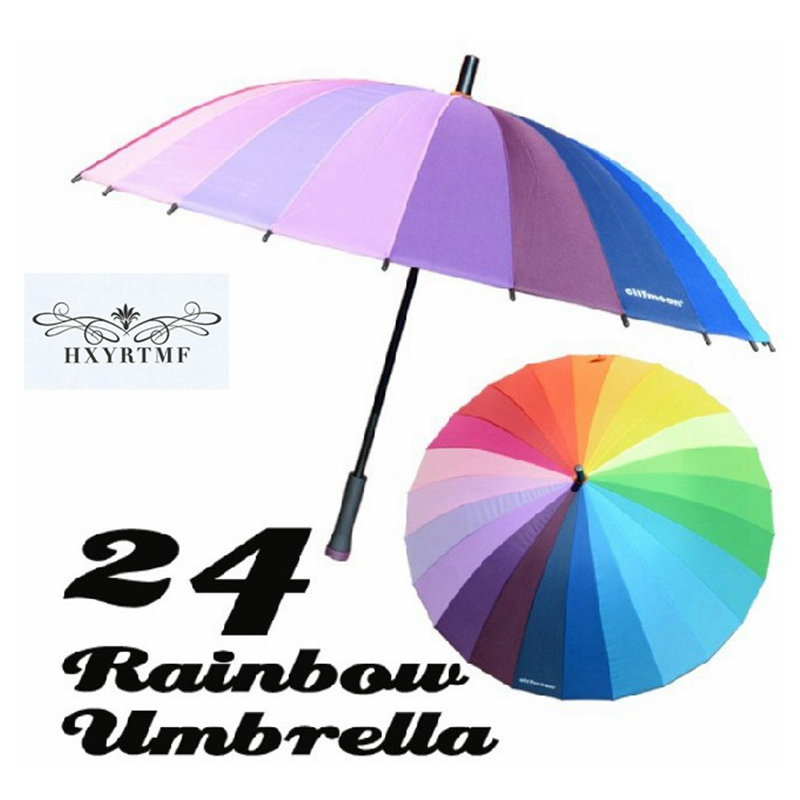 24509dd008b01 Top Quality 24k Rib Color Rainbow Fashion Long Handle Straight Anti UV Sun/Rain  Stick Umbrella Manual Big Parasol-in Umbrellas from Home & Garden on ...