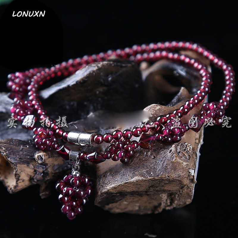 High quality natural Semi precious stones purple 5A Garnet Necklace Pendant Girls Multi layer women Jewelry lovers gift