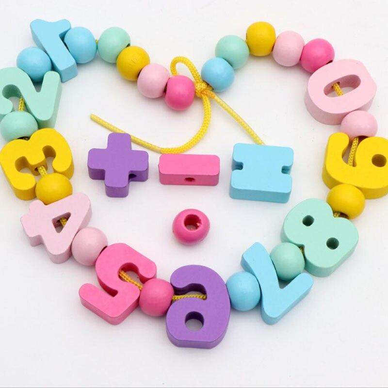 Montessori Learning Education Wooden Beaded Toys For Children Colorful Digital Beads Intelligence Handmade Development Toy