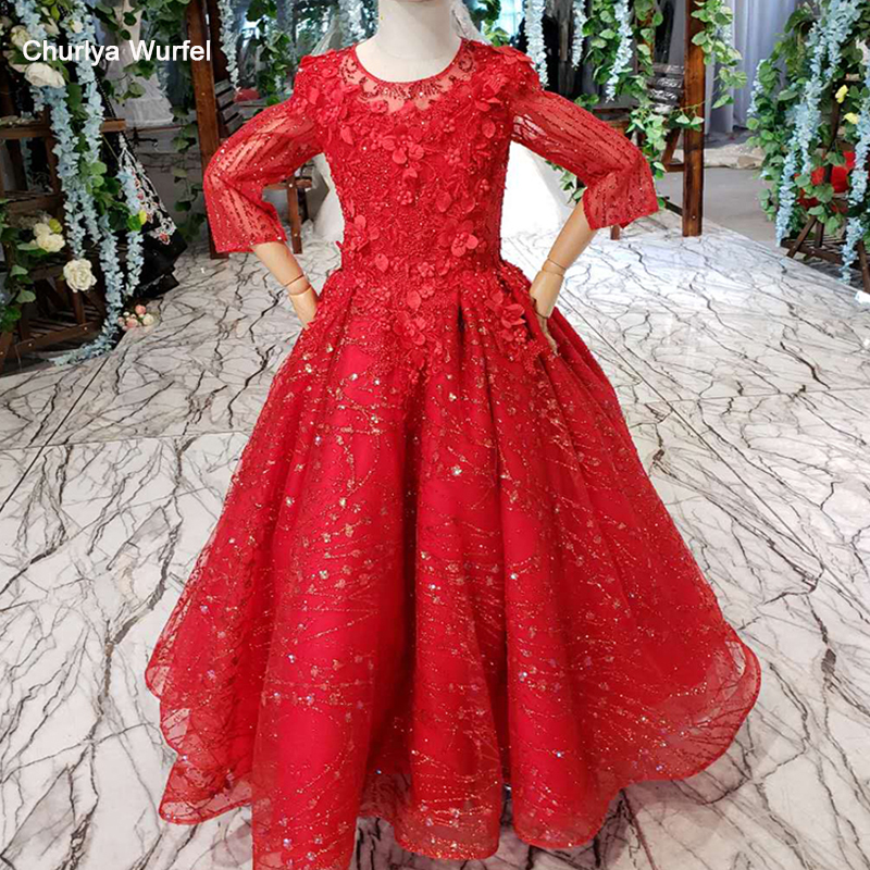 LSS516t red muslim   flower     girl     dresses   for weddings o-neck long sleeves elegant   dresses   for   girls   holy communion   dress   comunion