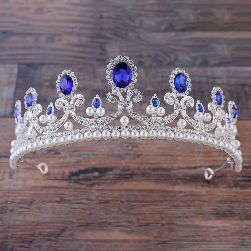 Baroque Blue Crystal Tiara Gold Crown Hair Accessory Pearl Jewelry Red Crown Cake Bridal Wedding Headpiece Hair Jewelry diadem