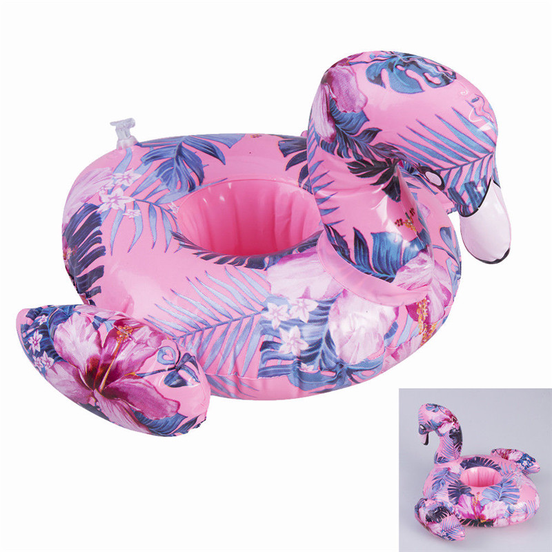 Summer Practical Inflatable Flamingo Tropical Floating Drink Can Cup Holder Bath Beach Pool Party Decor Toy Gift