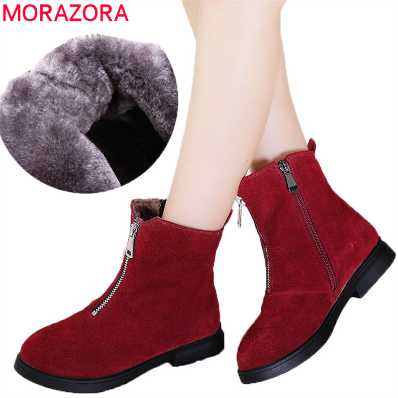 MORAZORA 2018 hot sale fashion ankle boots women zipper cow suede leather booties round toe casual shoes warm winter snow boots fashion embroided design spring winter casual women shoes zipper round toe square high heels women ankle booties free shipping