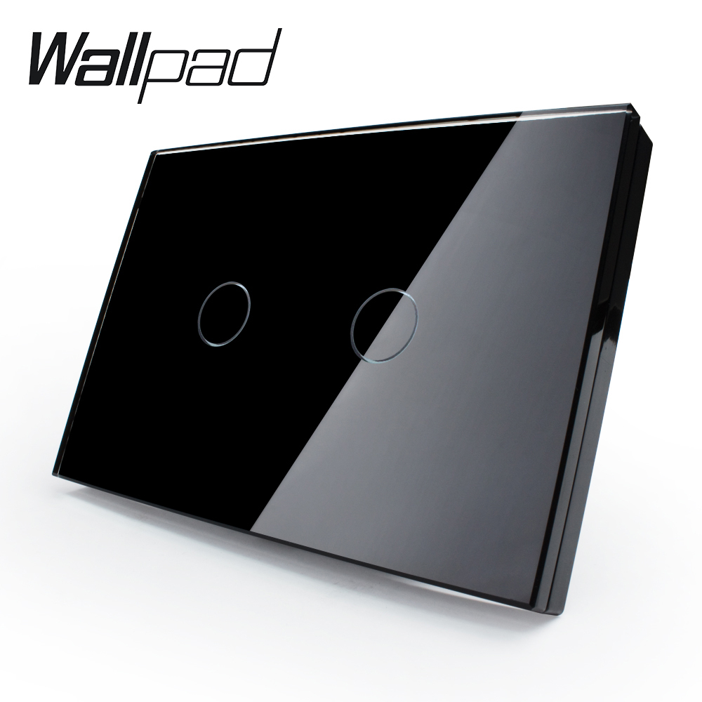 Wall Switch, 2-gang 2-way, VL-C302S-82 ,US/AU Touch Screen Light Switch with LED indicator, Black Crystal Glass Panel 2 gang touch senser wall switch white crystal glass panel 2 circuit us plug light screen switch with led indicator smart home