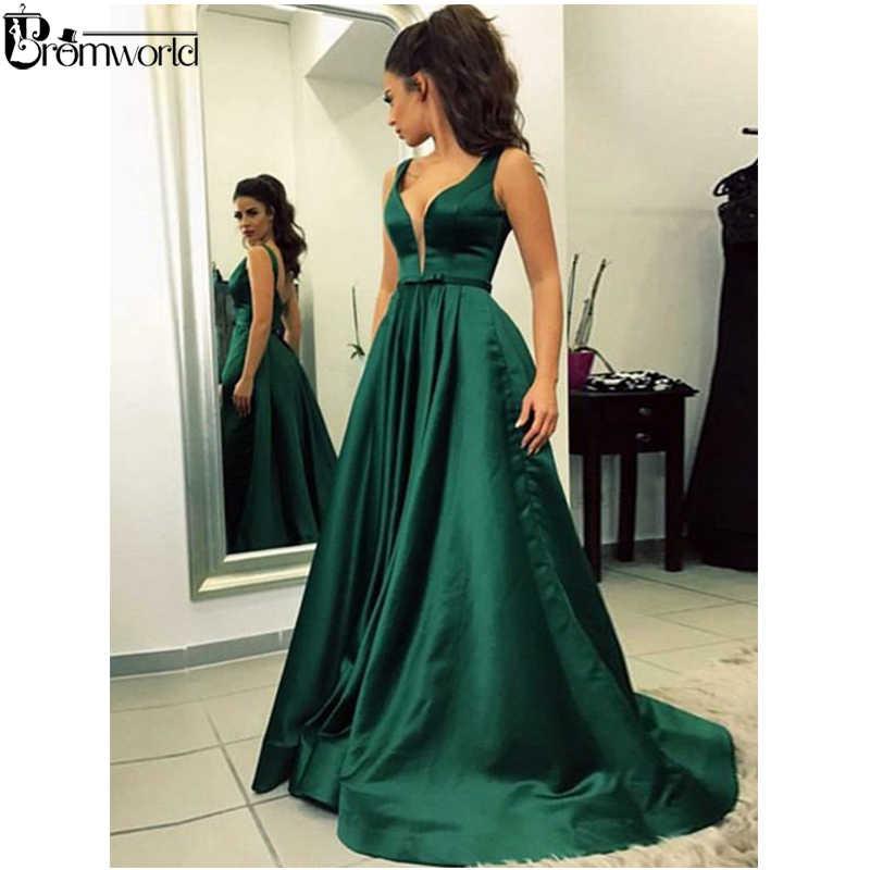 Esmeralda Verde Musulmán Vestidos De Noche 2019 Línea A