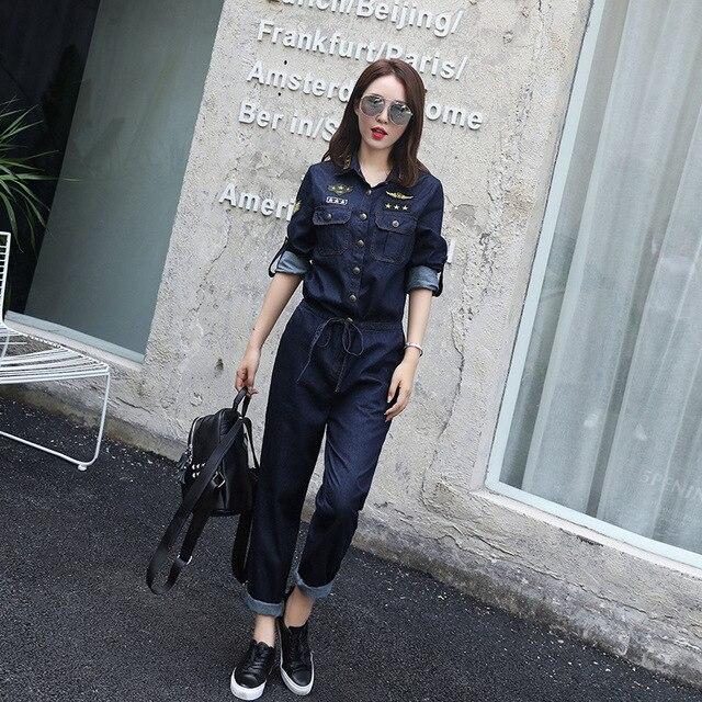 [XITAO] новая осень полная длина прямой форме сплошной цвет однобортный отложным воротником 100% хлопок джинсовые комбинезон MSB-010