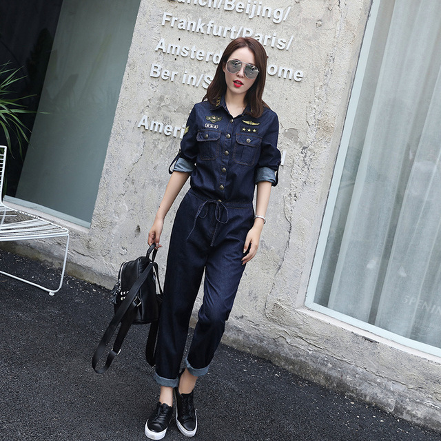 [XITAO] new autumn full length straight form solid color single breasted turn-down collar 100% cotton denim jumpsuit MSB-010