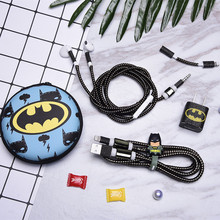 New Cartoon USB Cable Earphone Protector Set With Box Winder Stickers Spiral Cord For iPhone 7 6 6s 8 X