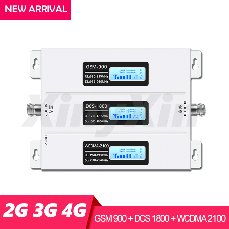 Signal Booster GSM Repeater 2G 3G 4G Amplifier Mobile Phone 900 DCS LTE 1800 WCDMA 2100 Cell Phone Cellular Booster Tri Band