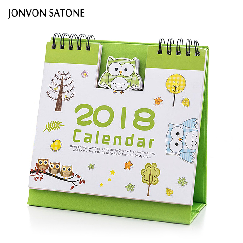 Jonvon Satone table planner 2018 Calendar Cute weekly planner Cartoon notebook school stationery diary notebook stationery