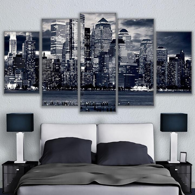 Canvas Pictures Wall Art Living Room 5 Pieces Black White Chicago ...