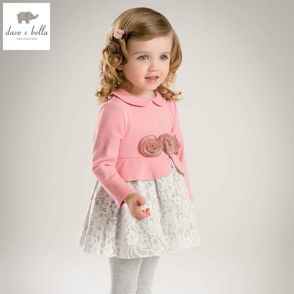 DB5146 dave bella spring baby princess dress girls lace dress kids botuique fancy dress fancy stylish clothes