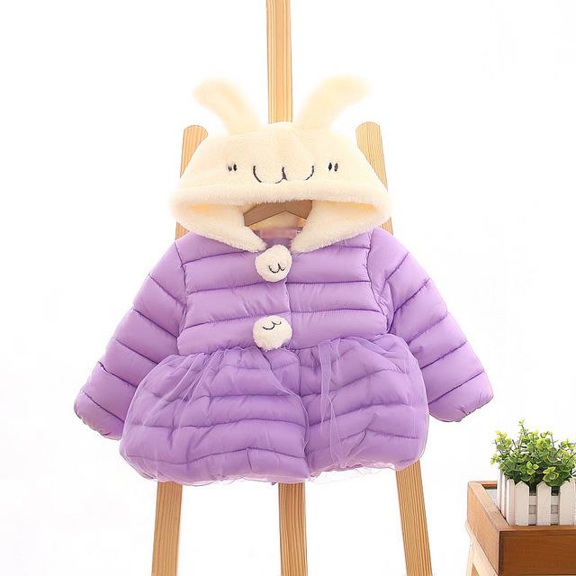 2015 nueva otoño invierno lindo cartoon peinada con capucha para bebé capa de las muchachas , además de terciopelo caliente recién nacido chaquetas traje 0 ~ 2 edad los bebés chica abrigos