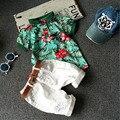 Conjuntos de roupas de Verão das crianças Do Bebê menino terno branco t-shirt + short vermelho impressão Calças crianças 2 pcs conjunto terno